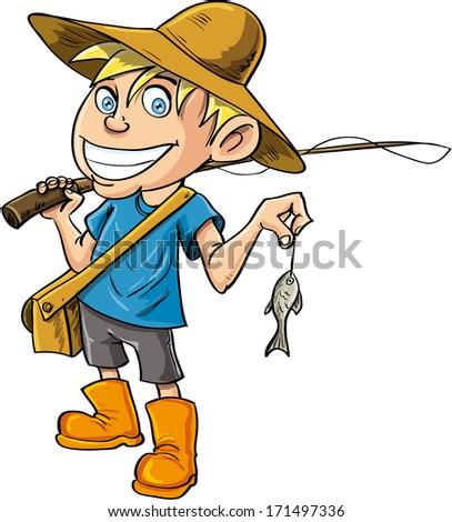 Cartoon fisherman with a tiny fish. Isolated - stock vector
