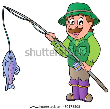 Cartoon fisherman with rod and fish - vector illustration. - stock vector