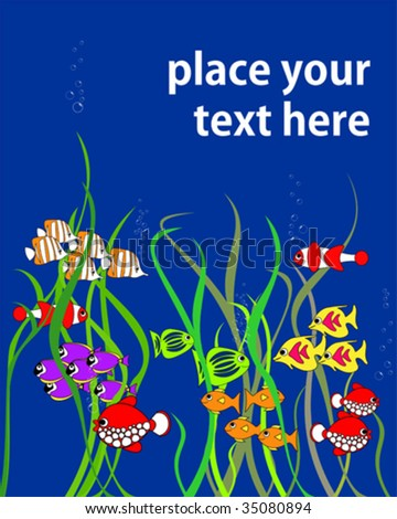 Cartoon fishes - with place for your text - stock vector