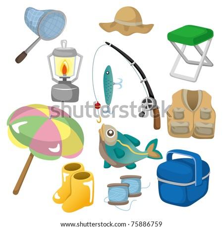 cartoon Fishing icons - stock vector