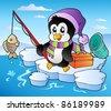 Cartoon fishing penguin - vector illustration. - stock vector