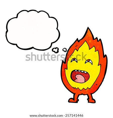 cartoon flame character with thought bubble