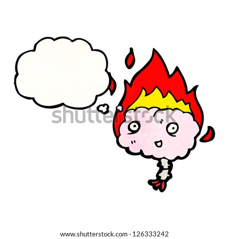 cartoon flaming brain
