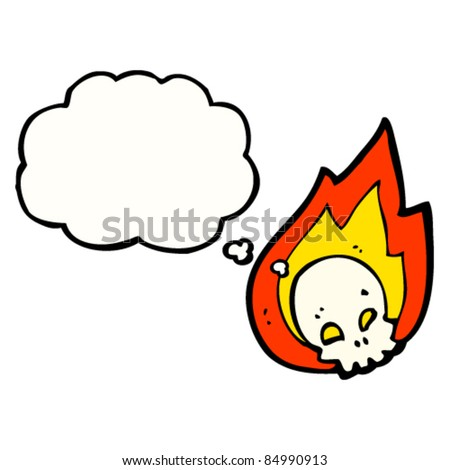 cartoon flaming halloween skull