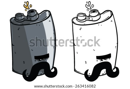 Cartoon Flask - Vector clip art illustration on white background - stock vector