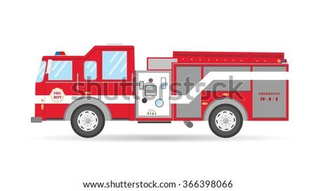 Cartoon flat American Firetruck car vector illustration emergency vehicle  - stock vector