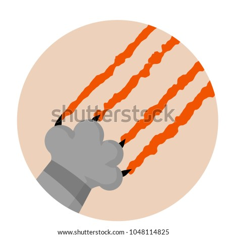 Cartoon flat illustration grey cat foot stock photo photo vector cartoon flat illustration grey cat foot cut a scratch with a blood trail voltagebd Images