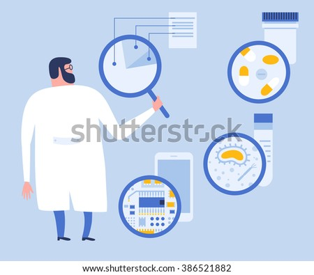 Cartoon flat scientist or laboratory researcher are making research with a magnifying glass. Science, medicine or electronic research. Scientist with loupe. Vector flat illustration. - stock vector