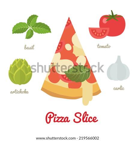 Cartoon flat style. Pizza, vector illustration - stock vector