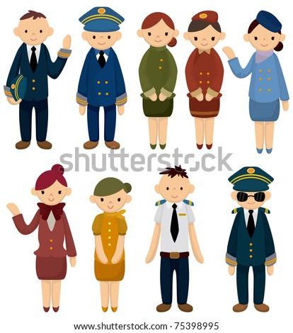 cartoon flight attendant/pilot icon - stock vector