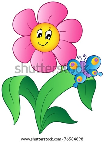 cartoon flower with butterfly vector illustration