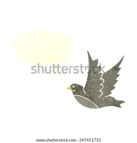 cartoon flying bird with speech bubble - stock vector