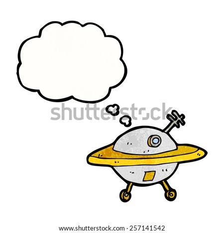 cartoon flying saucer with thought bubble - stock vector