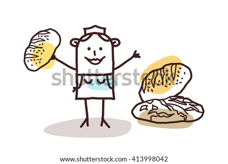 cartoon food retailer - baker and bread - stock vector