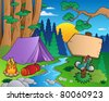 Cartoon forest landscape 6 - vector illustration. - stock photo
