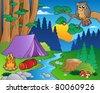 Cartoon forest landscape 5 - vector illustration. - stock vector