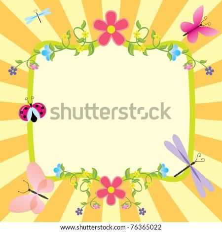 cartoon frame summer or spring easter - stock vector