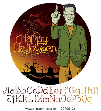 Cartoon Frankenstein vector. Halloween font set.