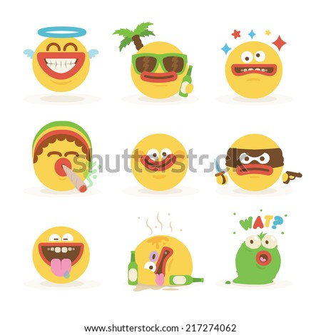 Cartoon Freaky Faces Smiley Emoticons Set 1 - stock vector