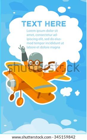 Cartoon friendly aircraft pilot in the sky waving hand vector illustration postcard - stock vector