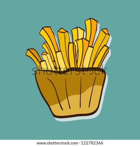 Cartoon Fries - stock vector
