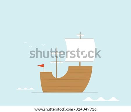 cartoon frigate ship - stock vector
