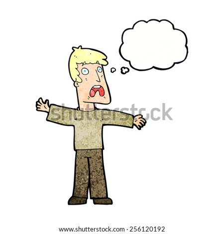 cartoon frightened man with thought bubble - stock vector