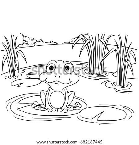 cartoon frog on lily pad at lake coloring page vector