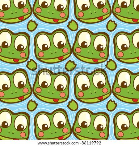 cartoon frogs in water seamless pattern - stock vector
