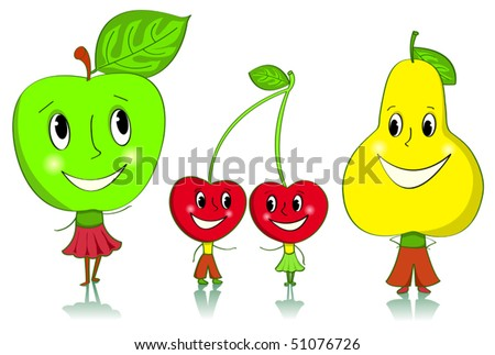 Cartoon fruit characters. Apple, cherries and a pear. Isolated on white.