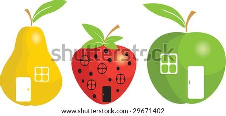 cartoon fruit small houses vector - stock vector