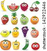Cartoon fruits with different emotions - stock vector
