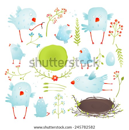Cartoon Fun and Cute Baby Birds Collection. Brightly Colored watercolor style birdies collection. Vector illustration EPS10. - stock vector