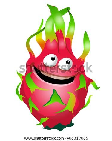 Cartoon fun dragon fruit character. Pitaya. Vector illustration, clip-art, isolated on white background - stock vector