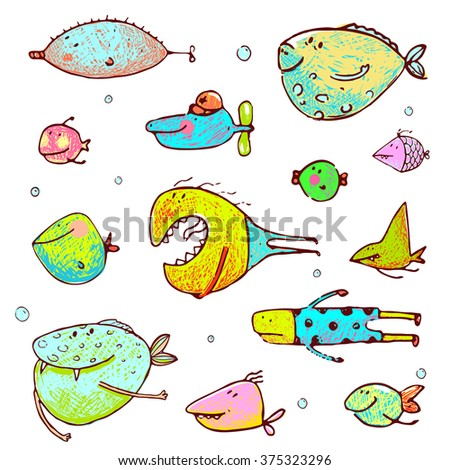 Cartoon Fun Humorous Fish Drawing Collection. Funny cartoon brightly colored fish drawing set. Pencil style. EPS10 vector has no background color. - stock vector