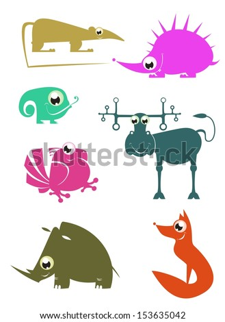 Cartoon funny animals set for design 2 - stock vector