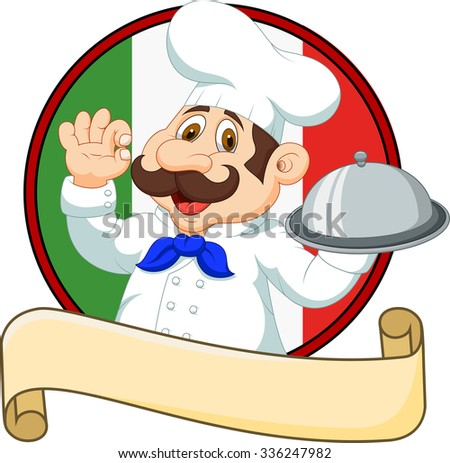 Cartoon funny chef with a moustache holding a silver platter  - stock vector