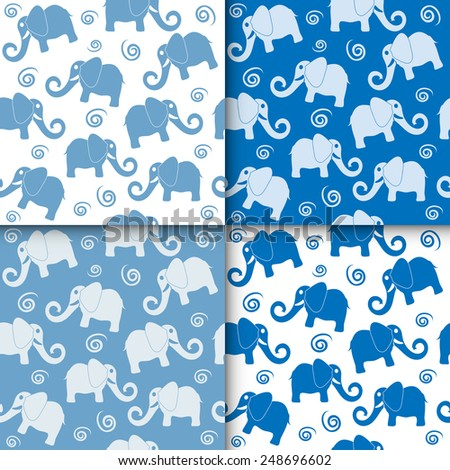 Cartoon funny childish elephant seamless pattern set. Cute backgrounds collection, vector illustration, blue and white - stock vector