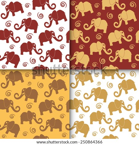 Cartoon funny childish elephant seamless pattern set. Cute backgrounds collection, vector illustration - stock vector