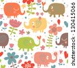 Cartoon funny childish elephants in flowers. Cute seamless pattern for nice backgrounds - stock vector