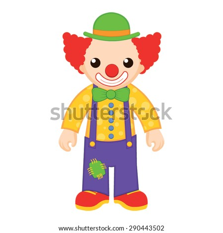 Cartoon funny clown in a hat - stock vector