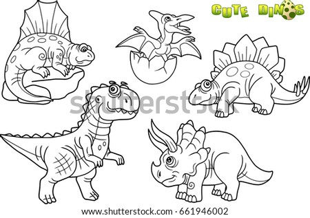 Cartoon Funny Dinosaurs Set Of Images