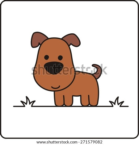 cartoon funny dog, farm animal isolated on white background - stock vector