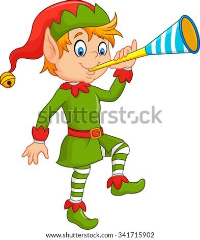 Cartoon funny elf blowing trumpet - stock vector