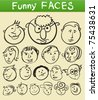 cartoon funny faces, vector doodle people - stock vector