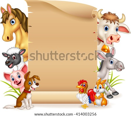 Cartoon funny farm animals with blank sign - stock vector