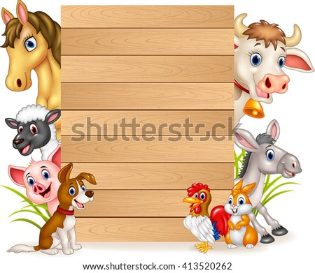 Cartoon funny farm animals with wooden sign - stock vector