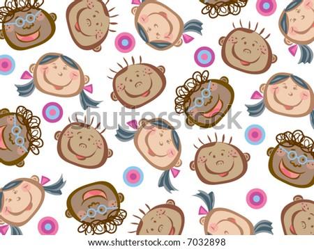 cartoon funny kids pattern (vector) - stock vector