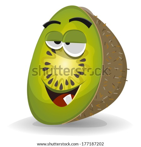 Cartoon Funny Kiwi Character/ Illustration of a funny happy cartoon kiwi fruit character, juicy, appetizing, smiling and cheerful - stock vector