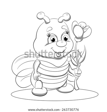 Cartoon funny little bee  with flower. Coloring book. - stock vector